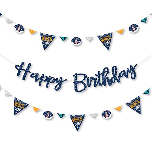 Big Dot of Happiness Blast Off to Outer Space - Rocket Ship Birthday Party Letter Banner Decoration - 36 Banner Cutouts and Happy Birthday Banner Letters