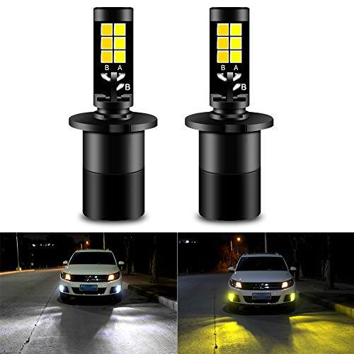 ghts Bulbs All in One Fog Lamps 35W 1900LM 6000K White 3000K Yellow Dual Color Car Light for DRL Fog Lights Not Headlight Pack of 2, 1 Year Warranty ()