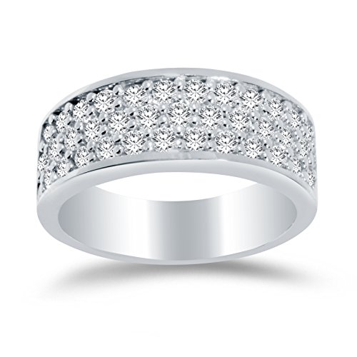 Size - 6.5 - Solid 14k White Gold 7.5mm Round Cut Wide Three Row Pave Set Anniversary Ring Wedding Band CZ Cubic Zirconia 1.50cttw. ()