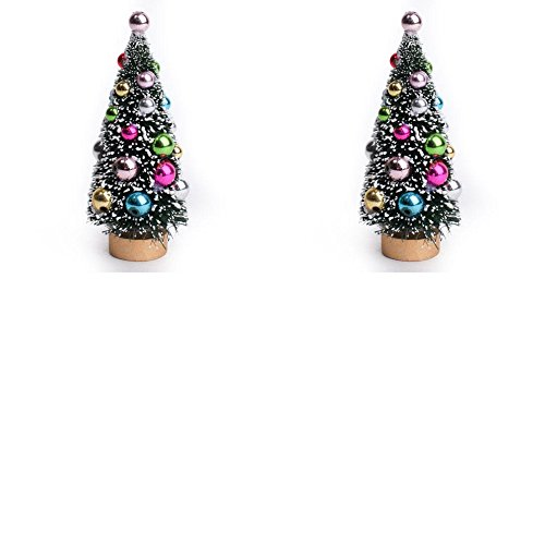 (Factory Direct Craft Set of 2 Beautiful Snow Flocked Holiday Bulb Decorated Miniature Pine Sisal Trees for Displays, Crafts, and Designs for Christmas and Holidays)