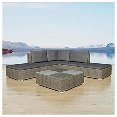 HomyDelight Outdoor Furniture Set, 6 Piece Garden Lounge Set with Cushions Poly Rattan Gray