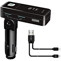 Ewin FM Transmitter, Bluetooth Wireless Radio Audio Adapter Receiver Stereo Music Tuner Modulator Car MP3 Player Handsfree Car Kit USB Car Charger with Dual USB Ports and Charging Cable