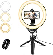 """UBeesize 10"""" Selfie Ring Light with Tripod Stand & Cell Phone Holder, Dimmable Desktop LED Circle Lig"""