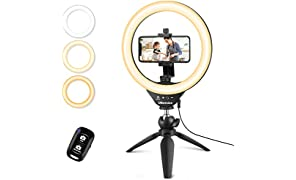 "UBeesize 10"" Selfie Ring Light with Tripod Stand & Cell Phone Holder, Dimmable Desktop LED Circle Light for Live Streaming/Makeup/YouTube, Compatible with iOS and Android Phones"