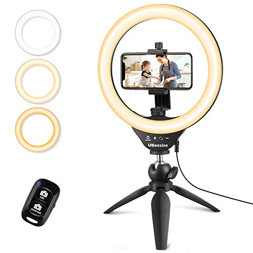 🥇 UBeesize 10″ Selfie Ring Light with Tripod Stand & Cell Phone Holder