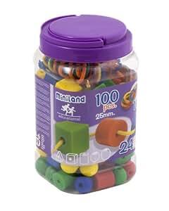 Miniland 31752 - Bote con asa 100 piezas figuras geométricas y cuerdas, 25 mm
