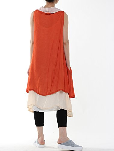 Mordenmiss Women's Contrast Color Long Waistcoat Asymmetry Hem Casual Vest Style 2-Orange by Mordenmiss (Image #5)
