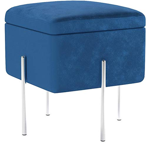 CO-Z Blue Cube Storage Ottoman Bench with Lid Secret Storage Space for Living Rooms, Family Rooms, Bedrooms (Ottoman with Storage, Blue A)