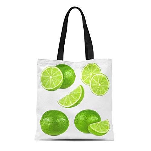 - Semtomn Canvas Tote Bag Shoulder Bags Peel Green Lemon Lime Fruit Yellow Slice Round Circle Women's Handle Shoulder Tote Shopper Handbag