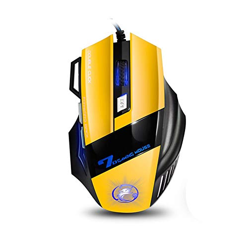 Wired Gaming Mouse,Feefine Professional X7 Wired Mouse Game 7 Button 5500 DPI LED Optical USB Gamer Mouse Ergonomic Game For Pro Game Notebook PC Laptop Computer (yellow)