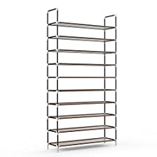 10 Tiers 50 Pairs Shoe Rack, Sable Space Saving Shoe Organizer, Tower Shelf Storage, Non-woven Fabric Shoe Cabinet, Easy to Assemble - No Tools Required, Espresso Brown
