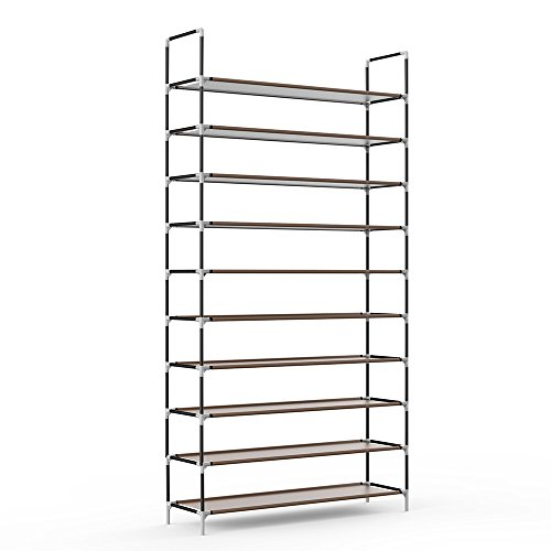 Sable 10 Tiers 50 Pairs Shoe Rack, Space Saving Shoe Organizer, Tower Shelf Storage, Non-Woven Fabric Shoe Cabinet, Easy to Assemble - No Tools Required