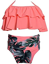 82632c47251ee Baby Girls Two Pieces Swimsuit Ruffle Bikini Set Falbala Swimwear Bathing  Suits