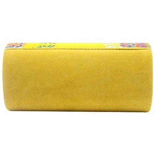 Long Evening Royal Gold Blue Elegant Floral Fashion Clutch Bag Wiwsi Print Wallet Purse Women's BZTXFqX