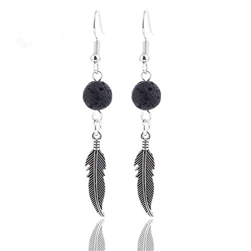 Aromatherapy Angel Wing Lava Stone Dangle Earring Handmade R