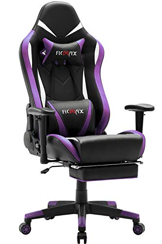 Ficmax Massage Gaming Chair Ergonomic Gamer Chair with Footrest Reclining Game Chair with Armrest High Back Leather PC Gaming Chair Plus Size Racing Office Chair with Head and Lumbar Support (Purple) (Massage Chair For Kids)