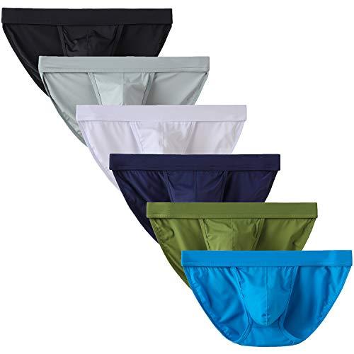 YuKaiChen Men's Bikini Underwear Tanga Bulge Enhancing Briefs Low-Rise 6-Pack M
