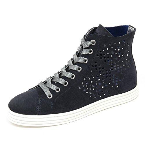 woman H shoe donna HOGAN sneaker blu Blu R182 C7560 scarpa REBEL forata vUwq60