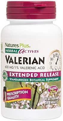 NaturesPlus Herbal Actives Valerian Extended Release Tablets - 600 mg, 30 Vegan Tablets - Natural Sleep Support Supplement - Vegetarian, Gluten-Free - 30 Servings