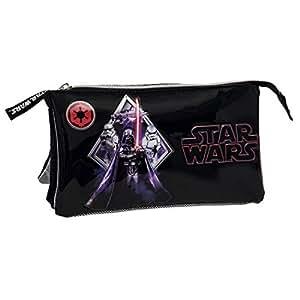 Star Wars Darth Vader Estuche de Tres Compartimentos, Color Negro