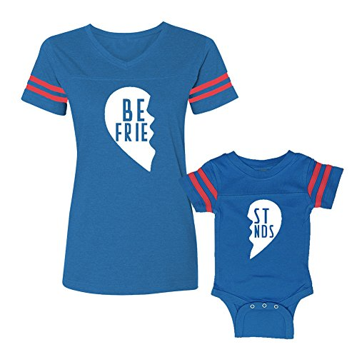 We Match!! - Best Friends (Two Halves of a Heart) - Matching Women's Football T-Shirt & Baby Bodysuit Set (NB Bodysuit, Women's Football T-Shirt 2XL, Cobalt/Pink, White Print)