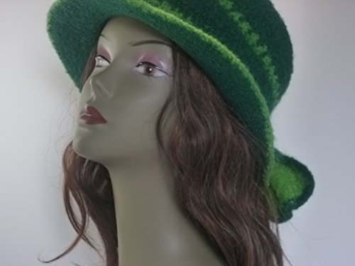 Porkpie style Felted Hat Green with bow (Crochet Felted Hat)