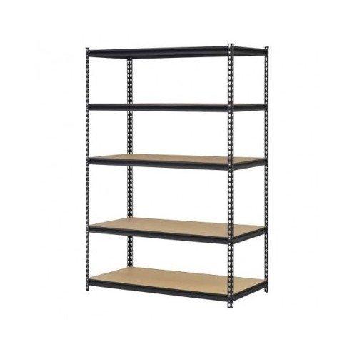 Garage Storage Shelves Heavy Duty Adjustable Steel 5 Shelf Metal Racks 4' Wide X 2' Deep X 6' High (Set of 2) (24' Wide Unit)