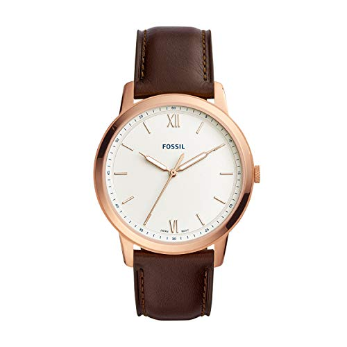 Fossil Men's 'The Minimalist 3H' Quartz Stainless Steel and Leather Casual Watch, Color:Brown (Model: FS5463)