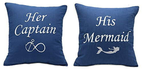Newport Nautical Throw (YugTex Pillowcase Set of 2 His Mermaid Her Captain cushion Covers Valentine's Day Gift, (18