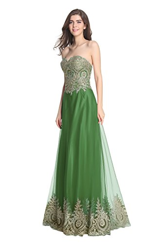 2016 Ballkleid Embroidery Damen Formelle Fanciest Green Lang Abendkleider Gowns Evening qUAZXUHwx