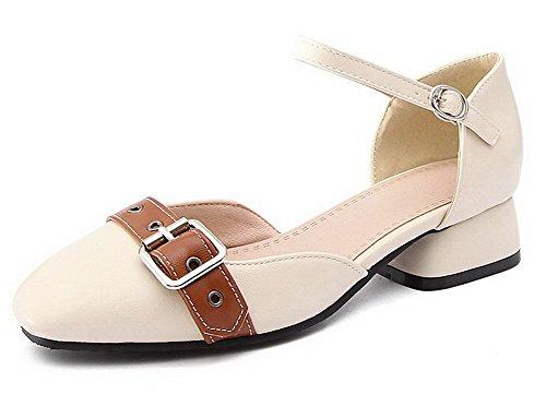 VogueZone009 Femme Couleur Unie à Talon Bas Boucle Carré Chaussures Légeres Beige xbmbI5R