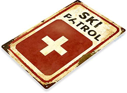 Tinworld TIN Sign C150 Ski Patrol Rustic Snow Ski Slope Metal Sign Decor Skiing Cabin Resort Lodge