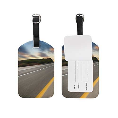 (Luggage Tag for Baggage Suitcase Road Under Sunset Sky Race Leather Travel Bag Address Labels 1 Piece)