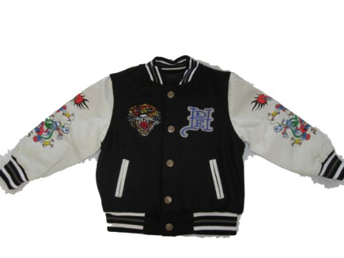 Ed Hardy Boys Vincent Tiger Embroidered Reversible Varsity Jacket ()