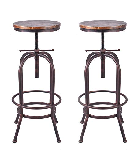 Lokkhan 33 Inch Vintage Industrial Bar Stool Metal And