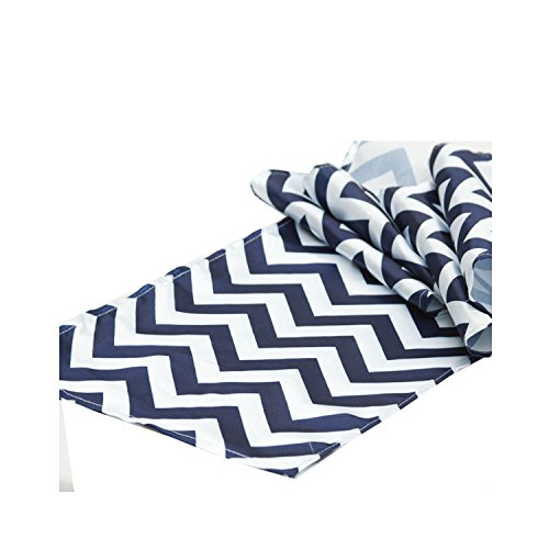 Chevron Table Runner 12 x 108 Inches by Florida Tablecloth Factory (Navy Blue)