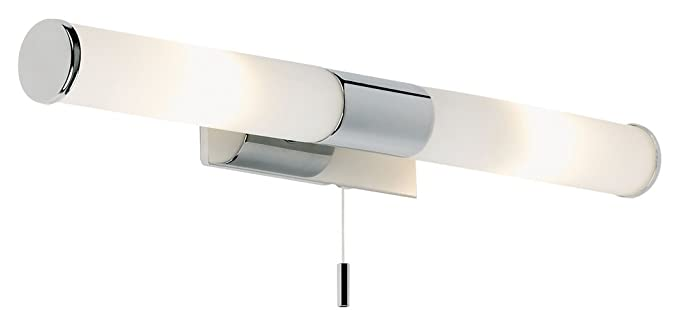 Modern Chrome Ip44 Bathroom Wall Mirror Light Fitting With Pull