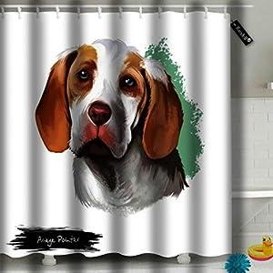 Randell Shower Curtain Ariege Pointer Dog Digital Art White Braque De Pointing Decoration Bathroom Shower Curtain 60x72 12