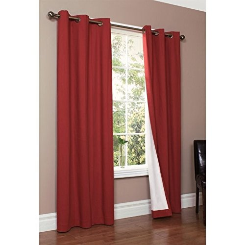 Commonwealth Home Fashions Thermalogic Weathermate Solid Insulated Grommet Top Curtain Panel/Pairs-Burgundy, 80 x 95