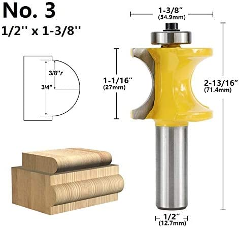 1pc 1//2 Shank Bullnose Router Bit Woodworking Edging Router Bit Ball Nose End Mill Wood Concave Radius Milling Cutters WHF-WUJIN Size : No.2 12.7mm