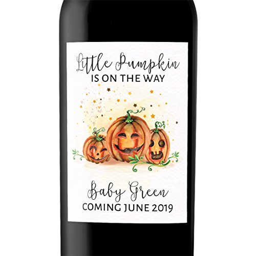 """Little Pumpkin!"" Custom Wine Bottle Label Sticker for Baby Shower Party 