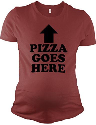 Crazy Dog TShirts - Maternity Pizza Goes Here Funny Arrow Pointing Announcement Pregnancy T shirt - Femme
