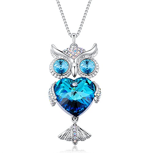 EleShow Animal Necklace Ocean Blue Pendant Jewelry for Women Crystals from Swarovski (B_Owl)