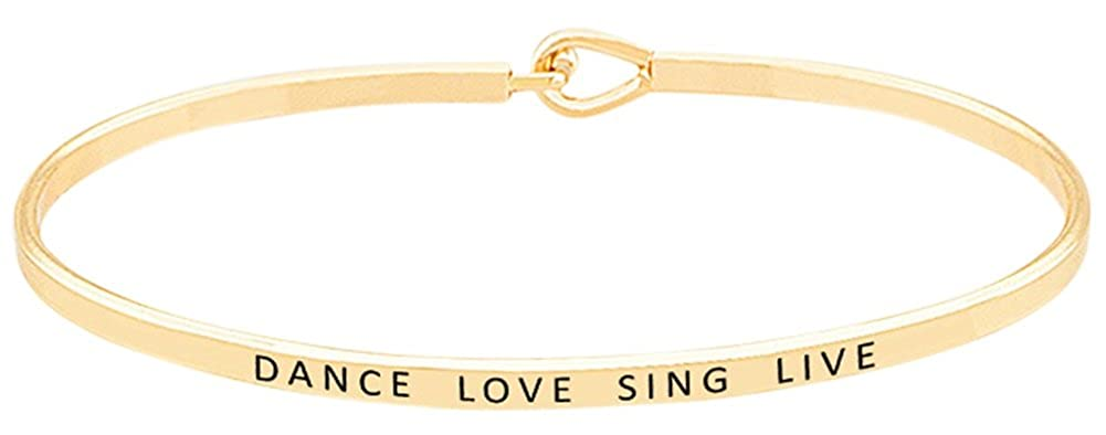 'Dance Love Sing Live' Inspirational Mantra Quote Bangle Hook Bracelet for Women & Teen Girls GGG Boutique