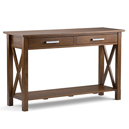Simpli Home Kitchener Solid Wood Console Sofa Table, Medium Saddle Brown (Classics Ltd Table Furniture Console)