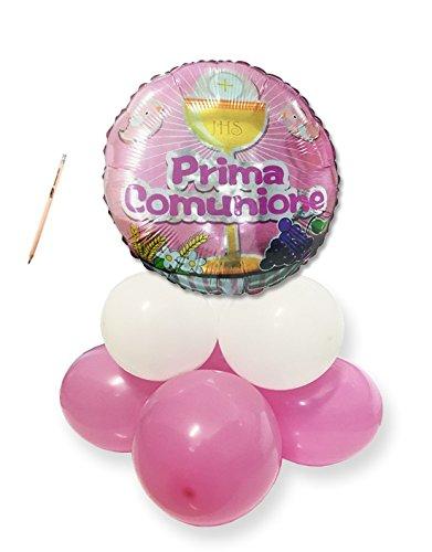 Irpot Composizione Centrotavola Palloncini Prima Comunione Rosa