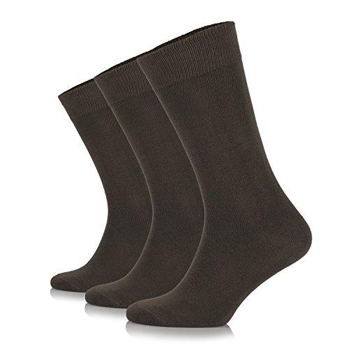 (Junix Women's Crew Dress Bamboo Socks 3 Pack Business Casual for Shoe Size 6-9 & 9-12 (Shoe Size:6-9, Dark Brown))