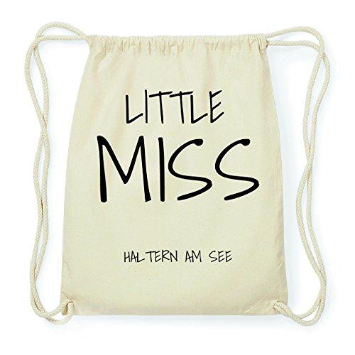 JOllify HALTERN AM SEE Hipster Turnbeutel Tasche Rucksack aus Baumwolle - Farbe: natur Design: Little Miss