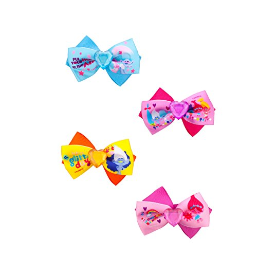 Townley Girl Dreamworks Trolls Boutique Ribbon Hair Bow Set For Girls, Toddler to Tween, 4 pack - Hair Bows For Girls Under $5