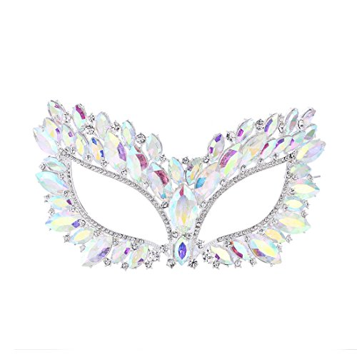 FF Big Gorgeous Crystal Mask for Women's Masquerade Ball Mardi Gras Silver